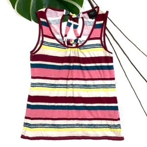 Deletta Anthropolgie Stripe Back Bow Tank Top